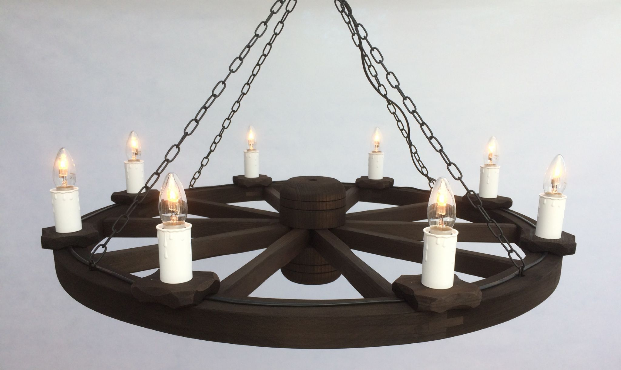8 Light Rustic Wooden Cartwheel Pendant Ceiling Light
